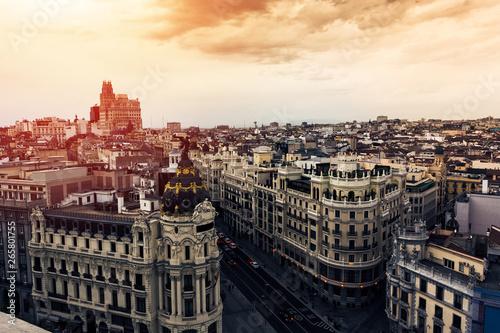 Foto op Canvas Madrid Panoramic aerial view of Gran Via, Madrid, capital of Spain, Europe