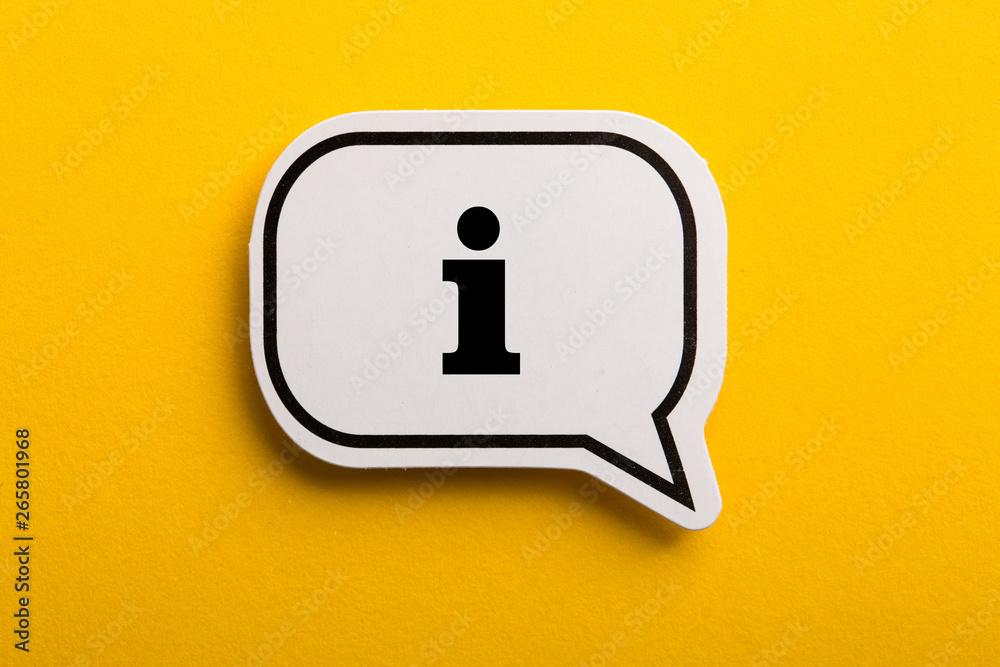 Fototapeta Information Sign Speech Bubble Isolated On Yellow Background