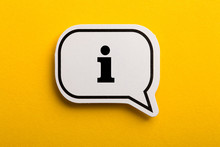 Information Sign Speech Bubble Isolated On Yellow Background
