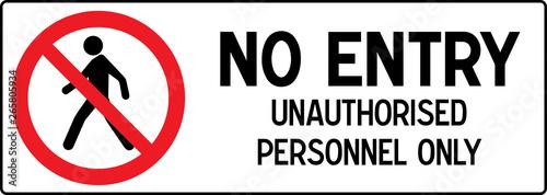 No Pedestrian Access industrial sign illustration - Forbidden to the public - No Canvas Print