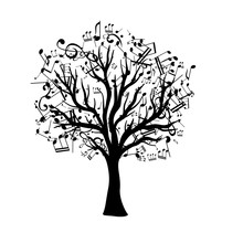 Tree With Flying Around Notes. Vector Isolated Decoration Element From Scattered Silhouettes. Conceptual Illustration Of Growth And Life .