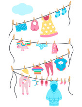 Baby Clothes And Toys On A Clothesline With Clothespins. Vector Cartoon Illustration Isolated On A White Background.