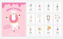 2020 Calendar With Alpaca. Cute Calendar With Llama Character. Vector Illustration