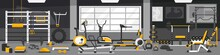 Gym Zoning Concept.  Fitness Center Interior Design In Cartoon Style With Crossfit, Weights Equipment And Elliptical Machine Cross Trainer, Treadmill, Rowing Machine And Bike. Vector Gym Equipment.