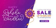 Happy Raksha Bandhan Sale Banner Design Template. Indian Holiday Promotional Banner Concept. Vector Illustration
