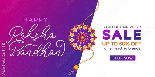 Happy Raksha Bandhan sale banner design template Canvas Print