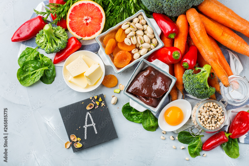 Fototapeta Balanced clean eating nutrition, food rich in vitamin a