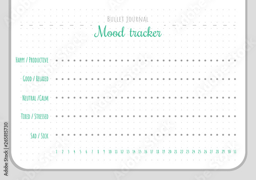 Fotografía  Mood tracker chart template for 31 days of a month