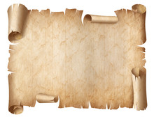 Ancient Worn Parchment Illustration Isolated On White