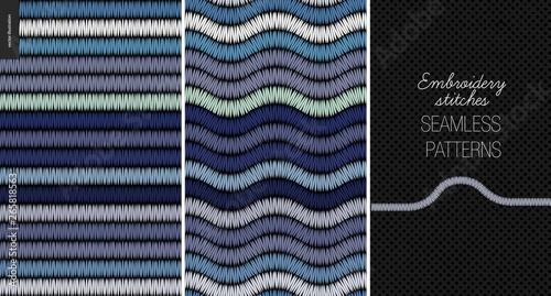 Fotografie, Obraz Embroidery satin stitch seamless patterns - two textile patterns of satin stitch