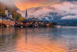 Wonderful sunset with colorful sky over the Halstatt.