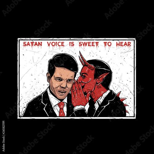 Fotografia illustration of devil whisper / satan voice is sweet to hear