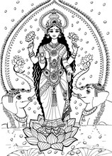 The Goddess Lakshmi Stands On ...
