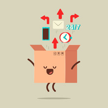 Cute Open Delivery Box Vector Cartoon Character Isolated On Background.