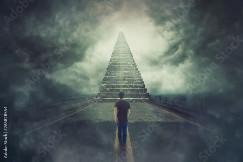 Pinturas sobre lienzo  wanderer guy confident walking a surreal road and found a magic stairway going u