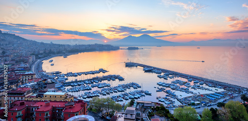 Poster Napels Panoramic view of Naples city, Italy, at sunrise