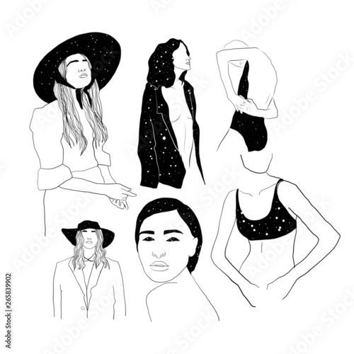 Minimal Graphic Line Woman Drawing Space Girl Fashion Female