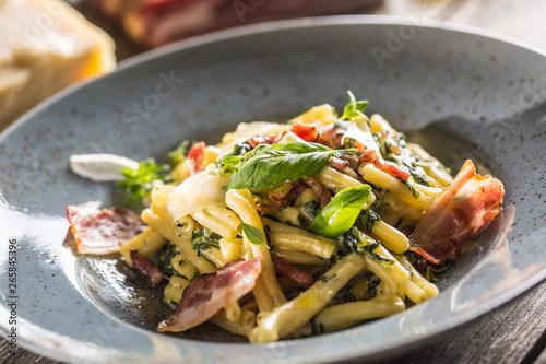 Cadres-photo bureau Nature Pasta casarecce with bacon pancetta parmesan cheese and herbs basil. Italian or mediterranean cuisine.