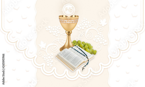 Carta da parati First holy communion, background with glass of wine and grapes