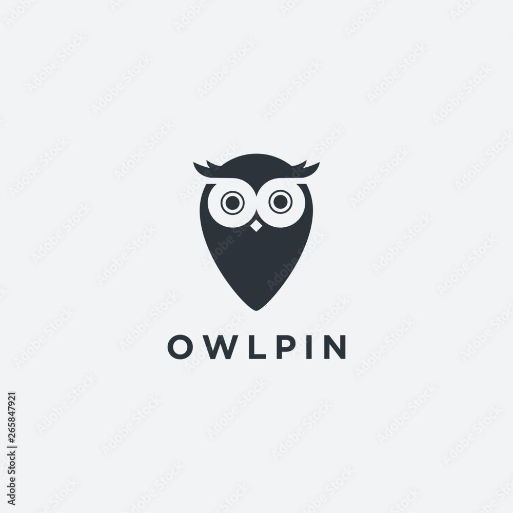 Fototapety, obrazy: Modern minimalist logo of Owl Map Pin Location