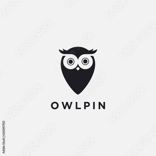 Spoed Foto op Canvas Uilen cartoon Modern minimalist logo of Owl Map Pin Location