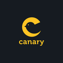 Abstract Creative Letter C Logo Of Canary With Negative Space Style On Dark Background