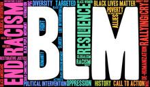 BLM Black Lives Matter Word Cloud On A Black Background.