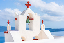 Whitewashed Bell Tower In Oia, Santorini, Greece