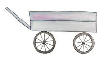 Garden Wooden Cart. Watercolor Illustration