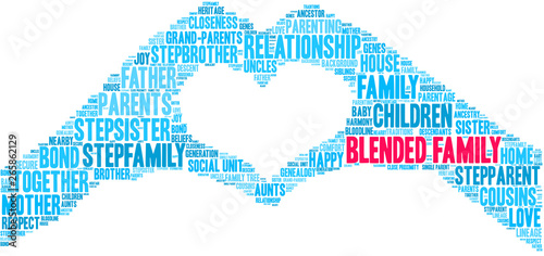 Blended Family Word Cloud on a white background. Wallpaper Mural