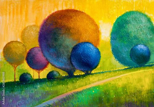 Obraz Abstrakcyjny pejzaż - obraz malowany na płótnie - fototapety do salonu