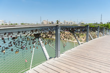 Israel, Tel Aviv, Love Lock On The Hataarucha Bridge