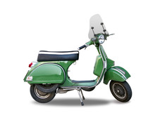 Green Italian Classic Scooter Isolated On White