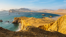 Coast Of Paracas In Peru During Sunset