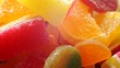 different bright colorful pieces candied fruit jelly marmalade closeup.