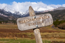 Close Up Wooden Sign Post For Government National Land Protection, Restoring Endangered Nature, Ecology, Ecosystem