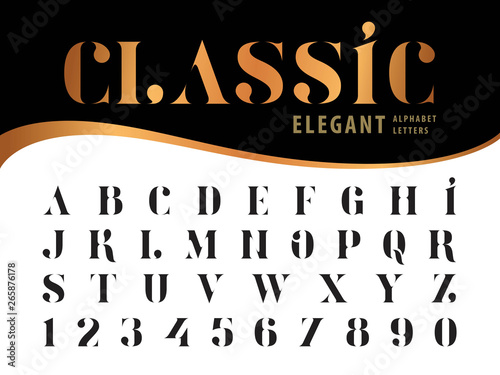 Valokuva  Vector of Elegant Alphabet Letters and numbers, Serif Style fonts, Vintage and r