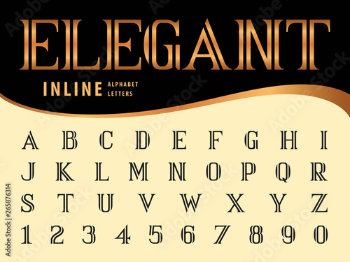Fotografie, Obraz  Vector of Elegant Alphabet Letters and numbers, Serif Inline fonts, Vintage and