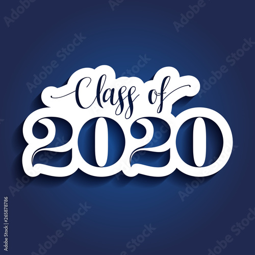 Class of 2020 Congratulations Graduate - Typography. white sticker and isolated dark blue background.