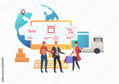Courier and sales agent meeting consumer in internet store