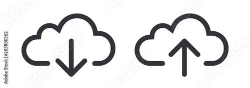 Cuadros en Lienzo Upload download cloud arrow vector line art icon symbol