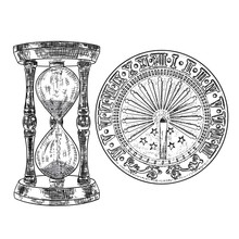 Set Of Sundial Or Sun Clock An...
