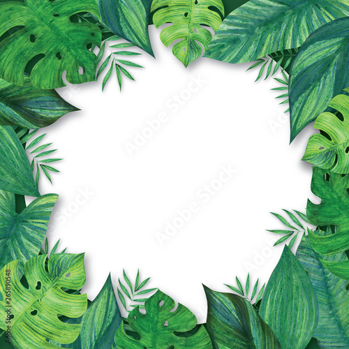 Blanc Round Frame Decorated With Tropical Leaves Bright Green Jungle Plants Hand Drawn With Colored Pencils And Markers Buy This Stock Photo And Explore Similar Images At Adobe Stock Adobe Stock This tropcial leaves vector frame would be perfect for any nature project. blanc round frame decorated with