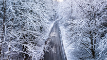 Winter Road Aerial Photography