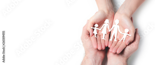 Stickers pour porte Londres Hands Holding Paper Family On Isolated White Background - Family Protection And Care Concept