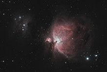 Close Up Of Orion Nebula Also Known As Messier 42 Taken By Telescope In The Dark Space And Starry Background.