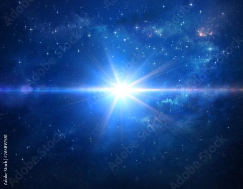 Fototapeta Cosmic blue star blast in outer space obraz na płótnie