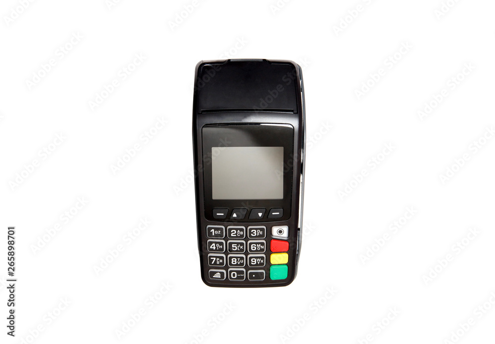 Fototapeta Credit card payment terminal on white background.