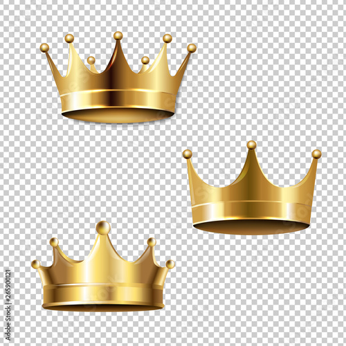 Crown Set Isolated Transparent Background Fototapet