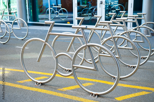 Bike Racks at Barcode Project in Oslo, Norway Canvas Print